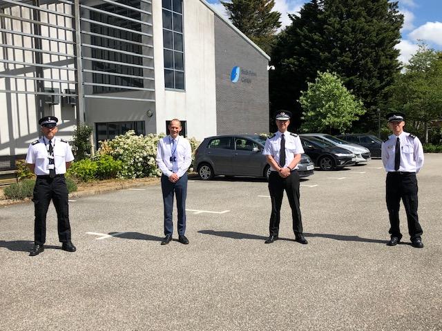 Photograph L-R: Sergeant Jon Driver, Headteacher Andy Sievewright, Chief Constable Steve Jupp and Inspector Roger Salmon.